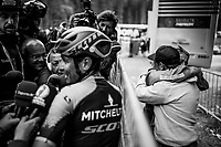 After having dealt with the effects of Epstein-Bahr virus for the past year, Esteban Chaves (COL/Mitchelton-Scott) resurfaces in  the upper cycling echelons with a strong 2nd place finish > behind the finish line Esteban is swamped by media to record his story of the race, but even more beuatiful; behind him, his parents intensely hug each other of joy & emotion as they understand that this win is a major breakthrough for the further future of their son in his procycling career. <br /> <br /> Stage 17: Commezzadura (Val di Sole) to Anterselva/Antholz (181km)<br /> 102nd Giro d'Italia 2019<br /> <br /> ©kramon
