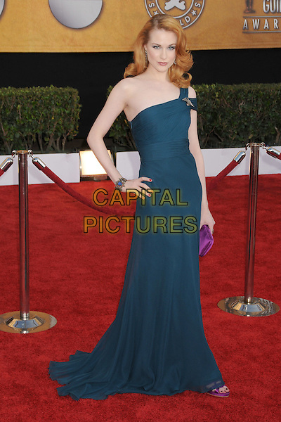 EVAN RACHEL WOOD .15th Annual Screen Actors Guild Awards held at the Shrine Auditorium,  Los Angeles, California, USA, .25 January 2009..SAG red carpet arrivals full length green one shoulder strap dress long maxi hand on hip purple clutch bag purse shoes sandals .CAP/ADM/BP.©Byron Purvis/Admedia/Capital PIctures