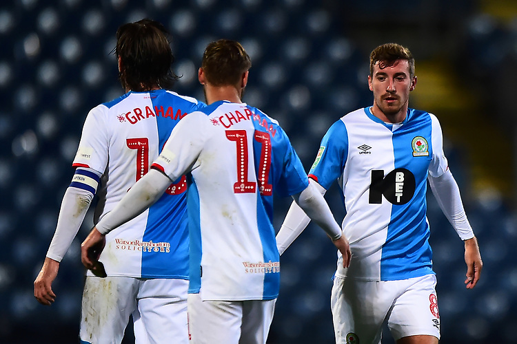 Blackburn Rovers' Joe Rothwell is congratulated by his team-mates at the end of the match<br /> <br /> Photographer Richard Martin-Roberts/CameraSport<br /> <br /> The Carabao Cup First Round - Tuesday 13th August 2019 - Blackburn Rovers v Oldham Athletic - Ewood Park - Blackburn<br />  <br /> World Copyright © 2019 CameraSport. All rights reserved. 43 Linden Ave. Countesthorpe. Leicester. England. LE8 5PG - Tel: +44 (0) 116 277 4147 - admin@camerasport.com - www.camerasport.com