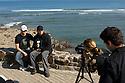 Matt Griggs intervieing Mick Fanning in Mundaka.