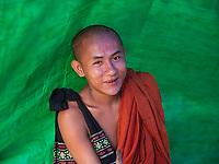 Buddhist Monk along the Yangon River, Yangon, Myanmar
