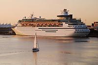 Sailboat and Cruiseship in Port of Miami,<br /> Miami, Florida
