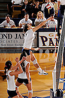 20 November 2008:  FIU middle blocker Andrea Lakovic (1) taps the ball back over the net during the FIU 3-1 victory over South Alabama in the first round of the Sun Belt Conference Championship tournament at FIU Stadium in Miami, Florida.
