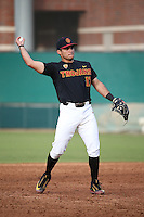 Frankie Rios #17 of the Southern California Trojans throws during a game against the Coppin State Eagles at Dedeaux Field on February 18, 2017 in Los Angeles, California. Southern California defeated Coppin State, 22-2. (Larry Goren/Four Seam Images)