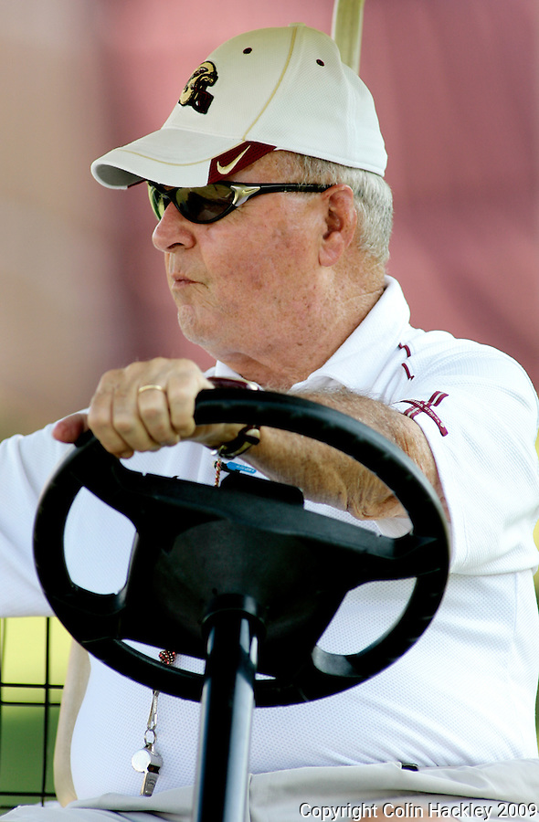 TALLAHASSEE, FL. 8/7/09-FSU-BOWDEN0807 CH01-Florida State Coach monitors practice from his golf cart  Friday in Tallahassee...COLIN HACKLEY PHOTO