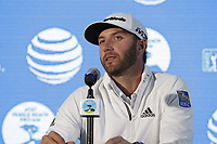 Dustin Johnson (USA) press conference joint leader on -12 at the end of Friday's Round 2 of the 2018 AT&amp;T Pebble Beach Pro-Am, held over 3 courses Pebble Beach, Spyglass Hill and Monterey, California, USA. 9th February 2018.<br /> Picture: Eoin Clarke | Golffile<br /> <br /> <br /> All photos usage must carry mandatory copyright credit (&copy; Golffile | Eoin Clarke)