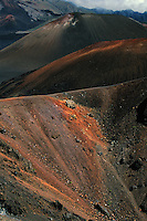 This challenging and rugged terrain is unique to the natural landscape of the crater in HALEAKALA NATIONAL PARK on Maui in Hawaii