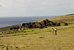 Chile, Easter Island: Platforms at site Ahu Vinapu showing two stages of stone construction, one more primitive and the latter more exquisite, possibly influenced by the Incas..Photo #: ch315-32666..Photo copyright Lee Foster www.fostertravel.com lee@fostertravel.com 510-549-2202