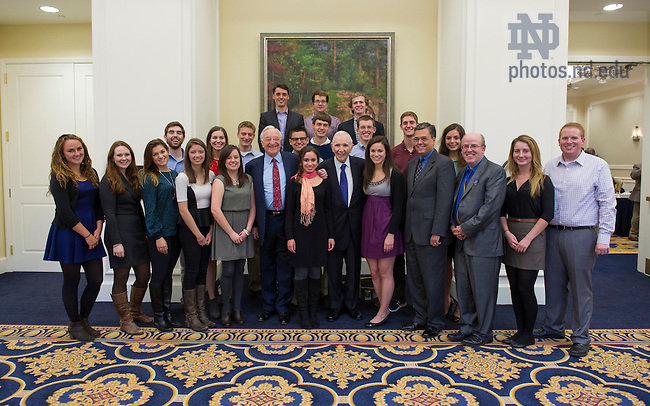 Oct. 17, 2013; Ireland Internship Reception. Photo by Barbara Johnston/University of Notre Dame