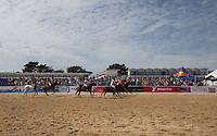 General view as Wales attack during the Wales v England match at the Asahi Beach Polo Championship  at Sandbanks, Poole, England on 10 July 2015. Photo by Andy Rowland.
