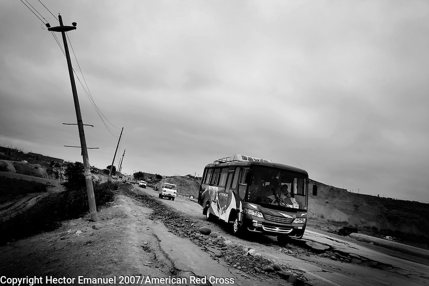 The Pan American highway after the quake.