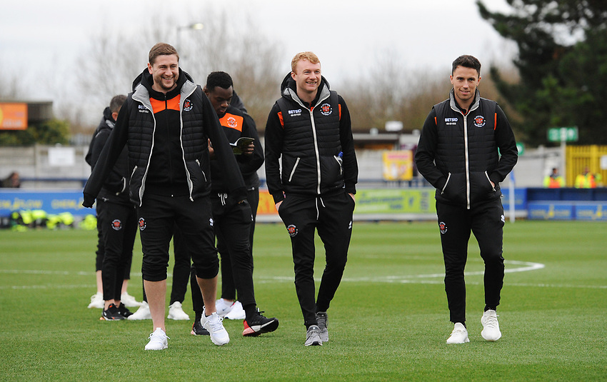 Blackpool's Steve Davies, Chris Taylor and John O'Sullivan<br /> <br /> Photographer Kevin Barnes/CameraSport<br /> <br /> The EFL Sky Bet League One - AFC Wimbledon v Blackpool - Saturday 29th December 2018 - Kingsmeadow Stadium - London<br /> <br /> World Copyright © 2018 CameraSport. All rights reserved. 43 Linden Ave. Countesthorpe. Leicester. England. LE8 5PG - Tel: +44 (0) 116 277 4147 - admin@camerasport.com - www.camerasport.com