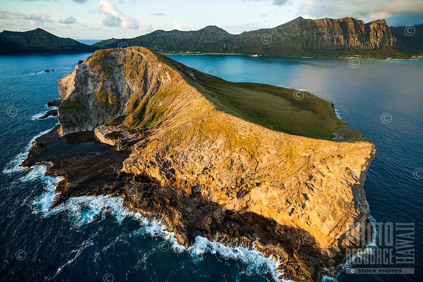 An uncommon aerial view of Rabbit Island (or Mañana Island), with the Ko'olau Range in the distance, Windward O'ahu.