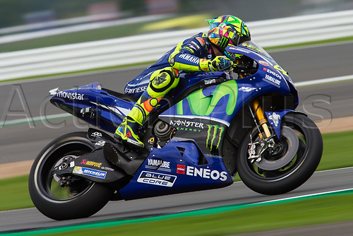 26th August 2017, Silverstone Circuit, Northamptonshire, England; British MotoGP, Qualifying; Movistar Yamaha MotoGP MotoGP rider Valentino Rossi powers out of the Loop corner