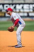 Tennessee Smokies first baseman Dan Vogelbach (21) on defense against the Birmingham Barons at Regions Field on May 4, 2015 in Birmingham, Alabama.  The Barons defeated the Smokies 4-3 in 13 innings. (Brian Westerholt/Four Seam Images)