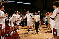 25 February 2006: Morgan Clyburn, Jillian Harmon, Rosalyn Gold-Onwude, and Krista Rappahahn during Stanford's 78-47 win over the Washington State Cougars at Maples Pavilion in Stanford, CA.