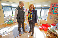 Pictured: Julie Morgan AM (R) meets Andy Proctor from Cardiff Flying Start. Thursday 21 March 2019<br /> Re: Julie Morgan, AM, has met parents at Twinkle Star playgroup before new legislation is brought in by the Welsh Government to ban parents from smacking children, Cardiff, Wales, UK.