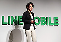 "March 14, 2017, Tokyo, Japan - LINE MOBILE president Ayano Kado announces the new service at a press conference in Tokyo on Monday, March 14, 2017. LINE MOBILE will use Japanese actress ""Non"" as the new mascot for the company's new TV commercial.    (Photo by Yoshio Tsunoda/AFLO) LwX -ytd-"