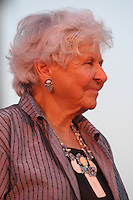 Deborah Szekely founder of the New American Museum at the NTC Promenade in Liberty Station at the opening ceremony on Friday, June 20, 2008.   The museum will feature exhibits, lectures and conferences related to immigration issues.  It will also house a recording studio where families can document their own immigrant history.