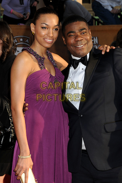 TANISHA HALL & TRACY MORGAN.16th Annual Screen Actors Guild Awards - Arrivals held at The Shrine Auditorium, Los Angeles, California, USA..January 23rd, 2009.SAG SAGs half length purple dress black tuxedo married husband wife .CAP/ADM/BP.©Byron Purvis/Admedia/Capital Pictures