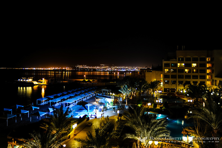 Aqaba is Jordan's only coastal city. View from Hotel Intercontinental, Eilat in Israel in the background.