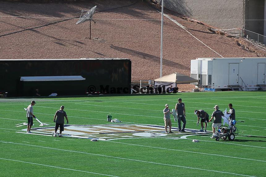 Spielfeld für den Super Bowl XLIX wird vorbereitet - Super Bowl XLIX Stadion-PK, University of Phoenix Stadium