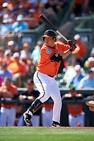 Baltimore Orioles left fielder Hyun Soo Kim (25) at bat during a Spring Training game against the Minnesota Twins on March 7, 2016 at Ed Smith Stadium in Sarasota, Florida.  Minnesota defeated Baltimore 3-0.  (Mike Janes/Four Seam Images)