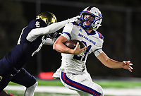 NWA Democrat-Gazette/CHARLIE KAIJO Shiloh Christian High School defensive end Ethan Sluyter (81) grabs on to the face mask of Arkadelphia High School quarterback Cannon Turner (21) during a Class 4A semi-final playoff football game, Saturday, December 1, 2018 at Champions Stadium at Shiloh Christian High School in Springdale.