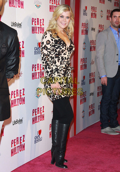 ALISON SWEENEY .Attending Perez Hilton's Carn-Evil 32nd Birthday Party held at Paramount Studios, Los Angeles, California, USA, 27th March 2010..arrivals full length leopard animal print dress tunic black leggings knee high boots side .CAP/ADM/TC.©T.Conrad/Admedia/Capital Pictures