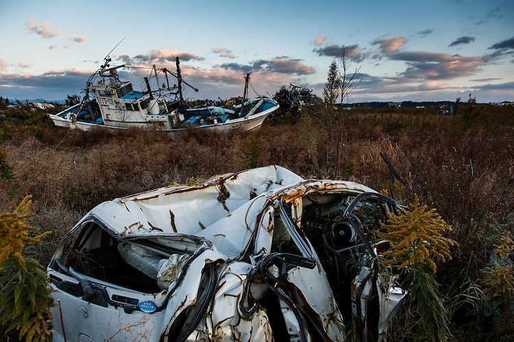 Namie, Fukushima prefecture, November 12 2013 - Ships and cars destroyed during the tsumani lying washed ashore in Ukedo, the former port of Namie.