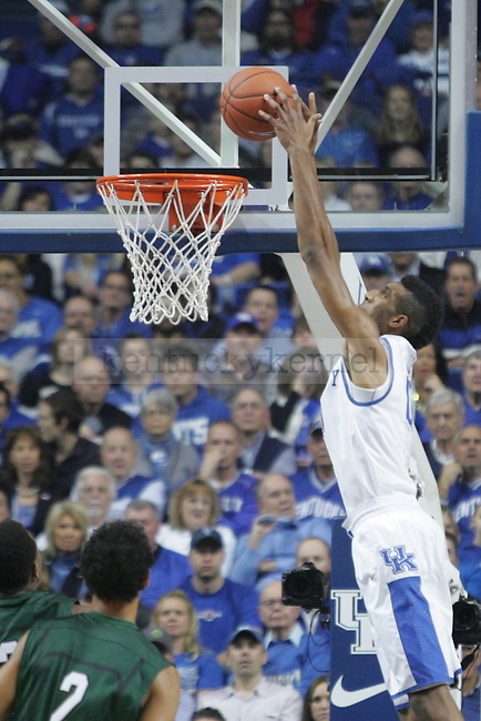 Freshman forward Marcus Lee dunks the ball during the first half of the University of Kentucky men's basketball game vs. Cleveland State at Rupp Arena in Lexington, Ky., on Monday, November, 25, 2013. Photo by Jonathan Krueger | Staff