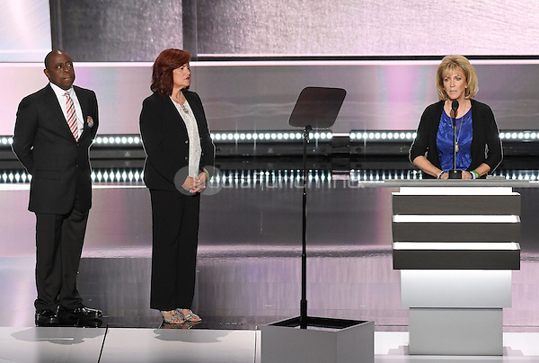 Mary Ann Mendoza, Sabine Durden, and Jamiel Shaw, Victims of Illegal Immigrants speak at the 2016 Republican National Convention held at the Quicken Loans Arena in Cleveland, Ohio on Monday, July 18, 2016.<br /> Credit: Ron Sachs / CNP/MediaPunch<br /> (RESTRICTION: NO New York or New Jersey Newspapers or newspapers within a 75 mile radius of New York City)