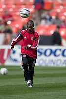 DC United's Freddy Adu warms up prior to the United's season opener against the San Jose Earthquakes. DC United defeated the San Jose Earthquakes 2 to 1 during the MLS season opener at RFK Stadium, Washington, DC, on April 3, 2004.