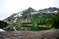 A view of the Maroon Bells from Crater Lake in Aspen, Colorado, July 12, 2011...Photo by Matt Nager