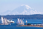 Port Townsend, Mount Rainier, Point Hudson Marina, Wooden Boat Festival, classic schooners, Puget Sound, Olympic Peninsula, Washington State, Pacific Northwest, United States,