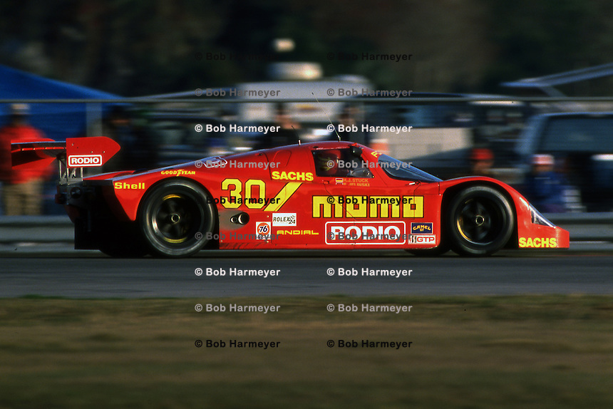 DAYTONA BEACH, FL - FEBRUARY 2: The Joest Racing Porsche 962C of Gianpiero Moretti, Henri Pescarolo, Hans Stuck and Frank Jelinski is driven during the 24 Hours of Daytona IMSA GT race at the Daytona International Speedway in Daytona Beach, Florida, on February 2, 1992.