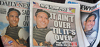 The New York tabloid newspapers on Wednesday, September 24, 2015 use the same photograph to report on the death of baseball great Yogi Berra. (© Richard B. Levine)