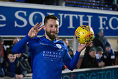 29th January 2019, Palmerston Park, Dumfries, Scotland; Scottish Cup football, 4th round replay, Queen of the South versus Dundee; Stephen Dobbie of Queen of the South with the match ball after scoring a hat-trick to beat Dundee
