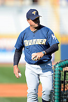 Trenton Thunder coach Luis Dorante #43 during practice before a game against the Akron Aeros on April 22, 2013 at Canal Park in Akron, Ohio.  Trenton defeated Akron 13-8.  (Mike Janes/Four Seam Images)