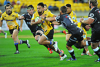 Matt Proctor in action during the Super Rugby match between the Hurricanes and Sharks at Westpac Stadium, Wellington, New Zealand on Saturday, 9 May 2015. Photo: Dave Lintott / lintottphoto.co.nz