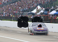 Apr 26, 2014; Baytown, TX, USA; NHRA pro stock driver Vincent Nobile during qualifying for the Spring Nationals at Royal Purple Raceway. Mandatory Credit: Mark J. Rebilas-