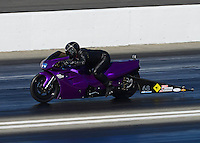 Nov. 10, 2012; Pomona, CA, USA: NHRA pro stock motorcycle rider Rhett Lougheed during qualifying for the Auto Club Finals at at Auto Club Raceway at Pomona. Mandatory Credit: Mark J. Rebilas-