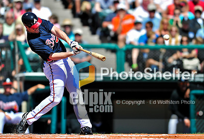 13 March 2010: Atlanta Braves' outfielder Matt Diaz in action during a Spring Training game against the Toronto Blue Jays at Champion Stadium in the ESPN Wide World of Sports Complex in Orlando, Florida. The Blue Jays shut out the Braves 3-0 in Grapefruit League action. Mandatory Credit: Ed Wolfstein Photo