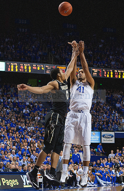Forward Trey Lyles of the Kentucky Wildcats shoots a three during the first half of the game against the Vanderbilt Commodores at Rupp Arena on January 20, 2015 in Lexington, Kentucky. Kentucky defeated Vanderbilt 65-57 at halftime. Photo by Taylor Pence
