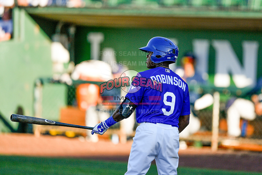 Errol Robinson (9) of the Ogden Raptors at bat against the Helena Brewers in Pioneer League action at Lindquist Field on July 16, 2016 in Ogden, Utah. Helena defeated Ogden 13-5.(Stephen Smith/Four Seam Images)