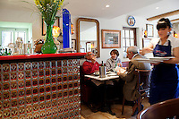 The bar is decorated with sardine cans at restaurant 'Le Bistro de la Marine', Cagnes sur Mer, France, 07 April 2012