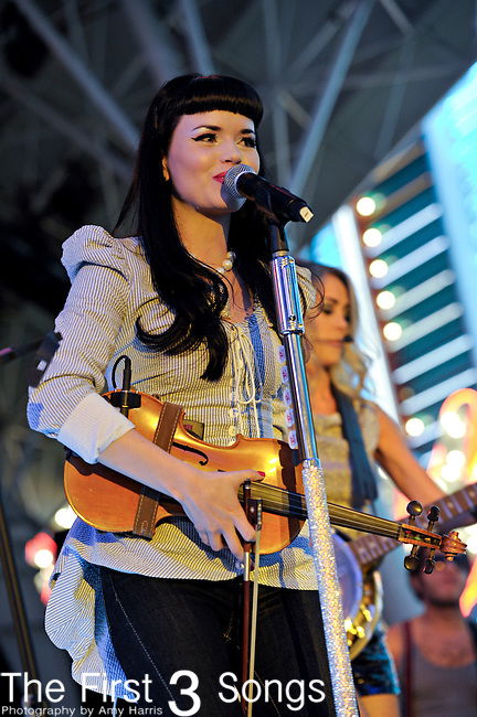 Susie Brown of The JaneDear Girls performs during the ACM Concerts at Fremont Street Experience Event in Las Vegas, Nevada on April 2, 2011.