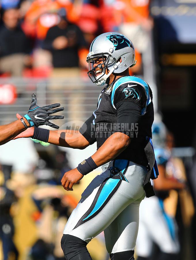Feb 7, 2016; Santa Clara, CA, USA; Carolina Panthers quarterback Cam Newton (1) reacts against the Denver Broncos during Super Bowl 50 at Levi's Stadium. Mandatory Credit: Mark J. Rebilas-USA TODAY Sports