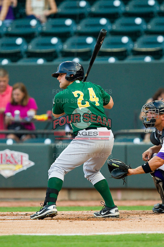 Josh Elander (24) of the Lynchburg Hillcats at bat against the Winston-Salem Dash at BB&T Ballpark on August 5, 2013 in Winston-Salem, North Carolina.  The Dash defeated the Hillcats 5-0.  (Brian Westerholt/Four Seam Images)