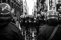 Policemen in riot gear during the clashes in Rome after the Senate and Lower House vote of confidence that resulted in a razor-thin victory for Berlusconi to continue his mandate. Rome, Italy. 14 Dec. 2010